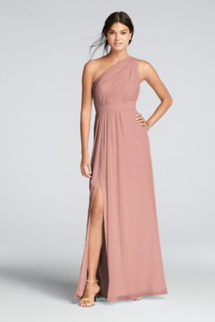 1d46d6b19f Long One-Shoulder Crinkle Chiffon Dress Style F18055, Champagne, 26 ...