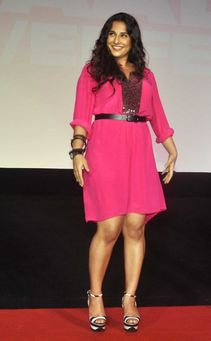 Actress Vidya Balan New Hot Stills In Short Pink Dress -6416