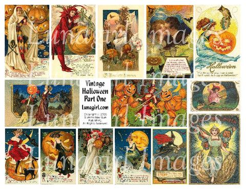 collage sheets printable halloween Vintage