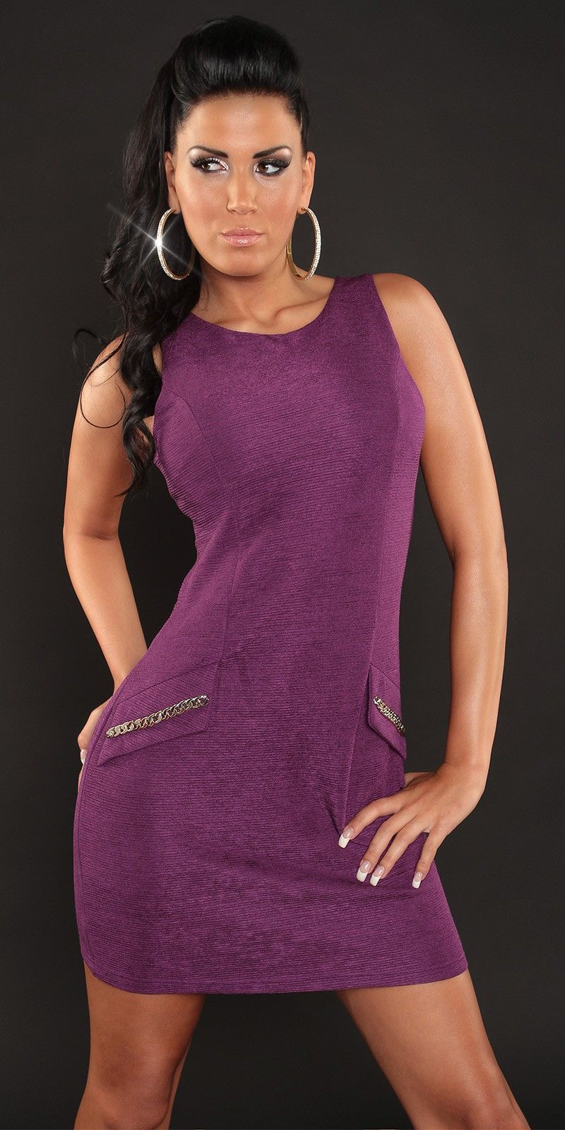 Vestido corto de asas color púrpura. | Mujeres, moda, diseño ...