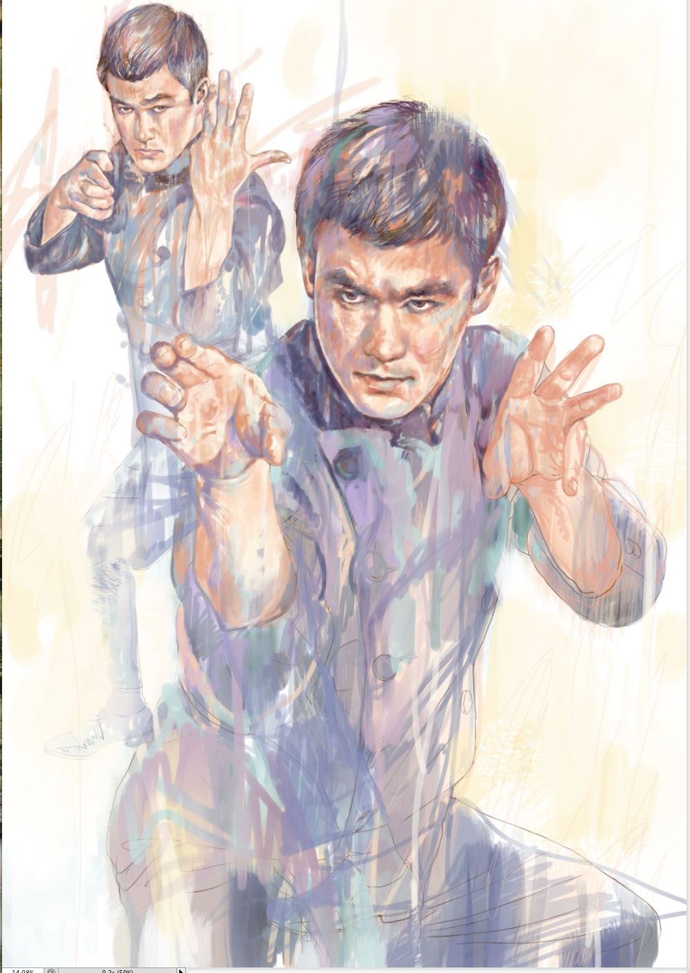 Drawing step Bruce Lee drawings by Milton Wong
