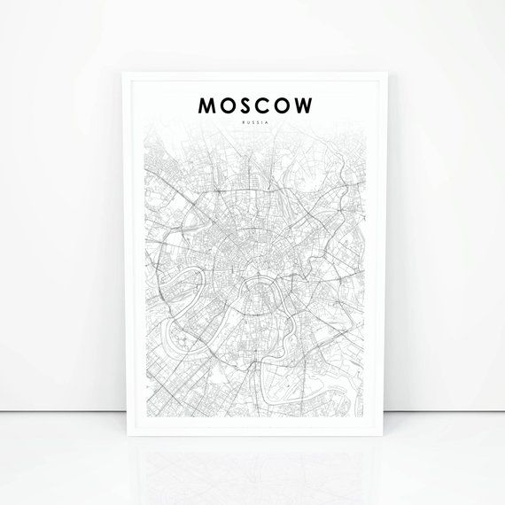 Moscow Map Print Russia Map Art Poster City Street Road Map Print