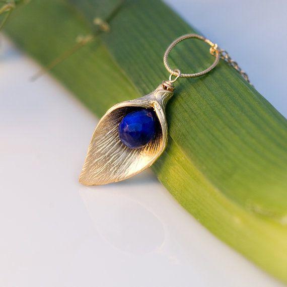 16k gold calla bead blue lapis...