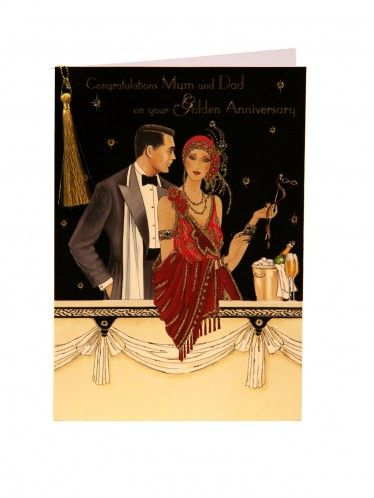 Mum And Dad Deco Golden Anniversary Card Clintons Art Deco Women