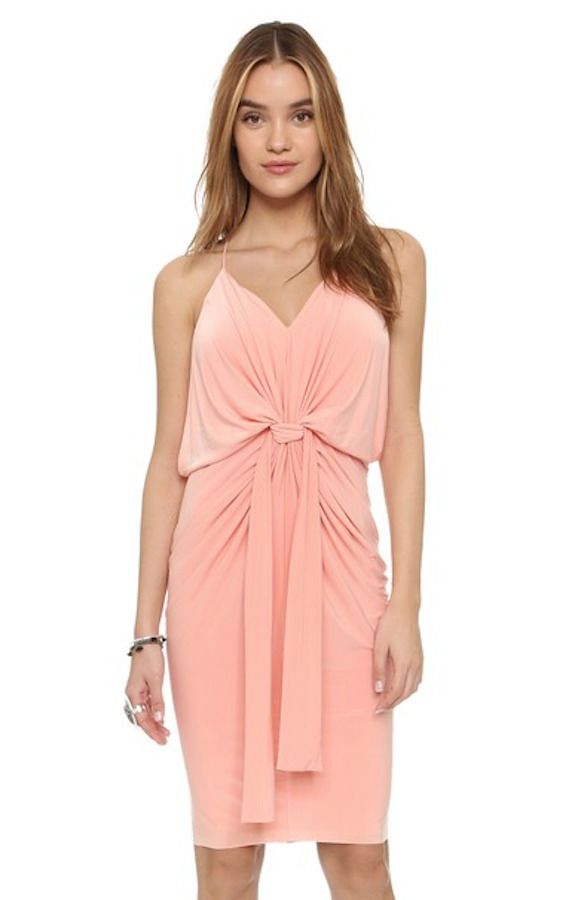 MISA LA Domino Sleeveless Gathered Front Midi Cocktail Dress Blush Pink XS  $180