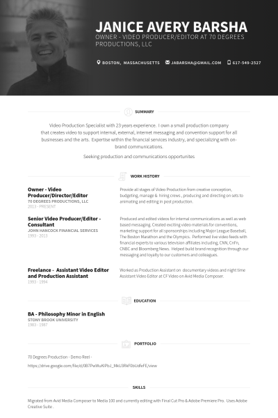 owner - video producer/director/editor Resume Example | WORK ...
