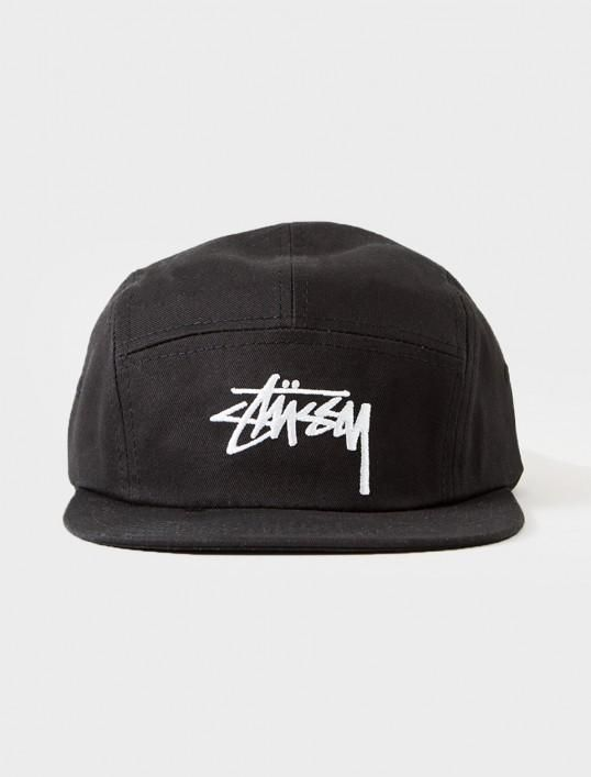 Mens   Womens Stussy Stock Iconic Logo 5 Panel Golf Camp Strapback  Adjustable Cap - Black   White b669aa33d