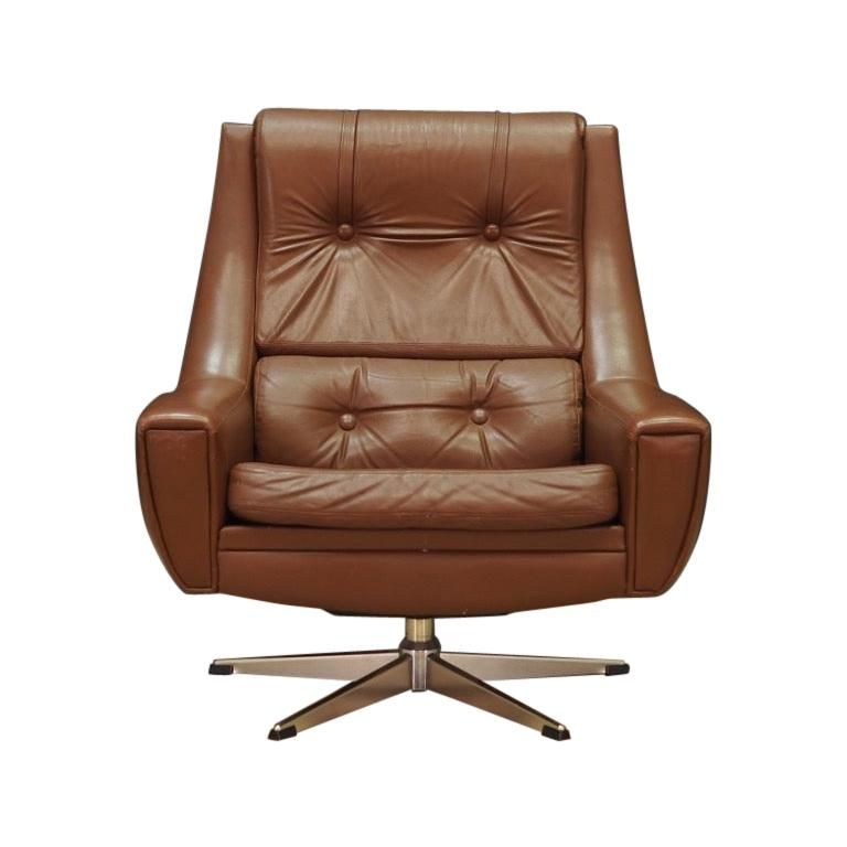 1stdibs Steel Leather Vintage 1960 1970 Retro Scandinavian Armchair In 2020 Leather Swivel Chair Brown Leather Office Chair Armchair Vintage