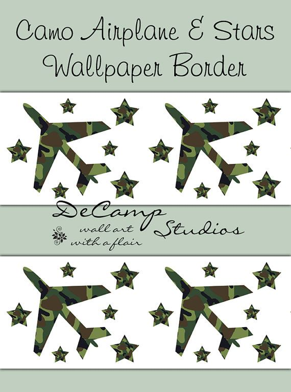 Green Camo Airplane and Stars Wallpaper Border wall decals for boys camouflage room decor #dec&studios  sc 1 st  Pinterest & Green Camo Airplane and Stars Wallpaper Border wall decals for boys ...