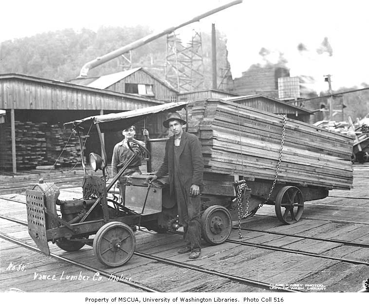 Mill crew with jitney loaded with lumber, Vance Lumber Company, Malone, ca. 1916