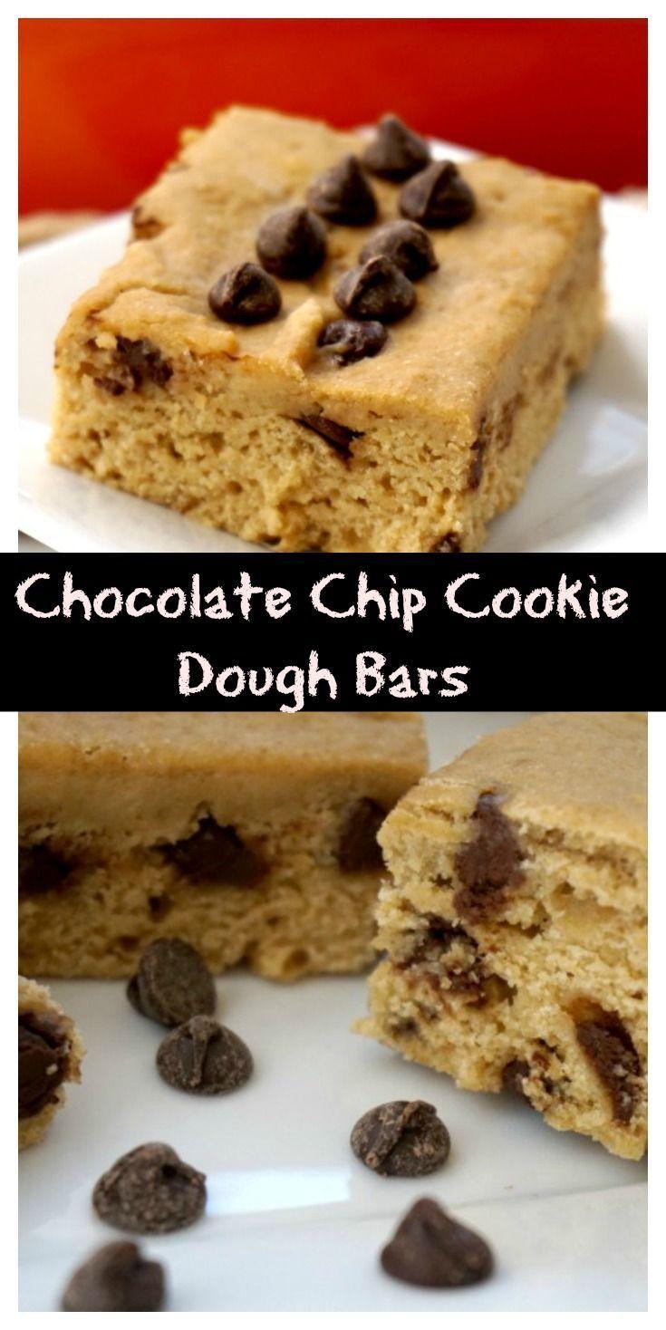 Chocolate Chip Cookie Dough Bars #chocolatechipcookiedough