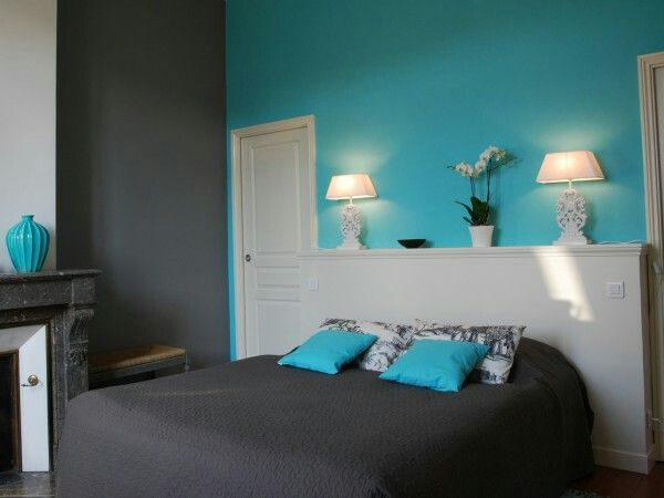 Mur Turquoise Gris Bedroom Bedroom Room Colors Turquoise