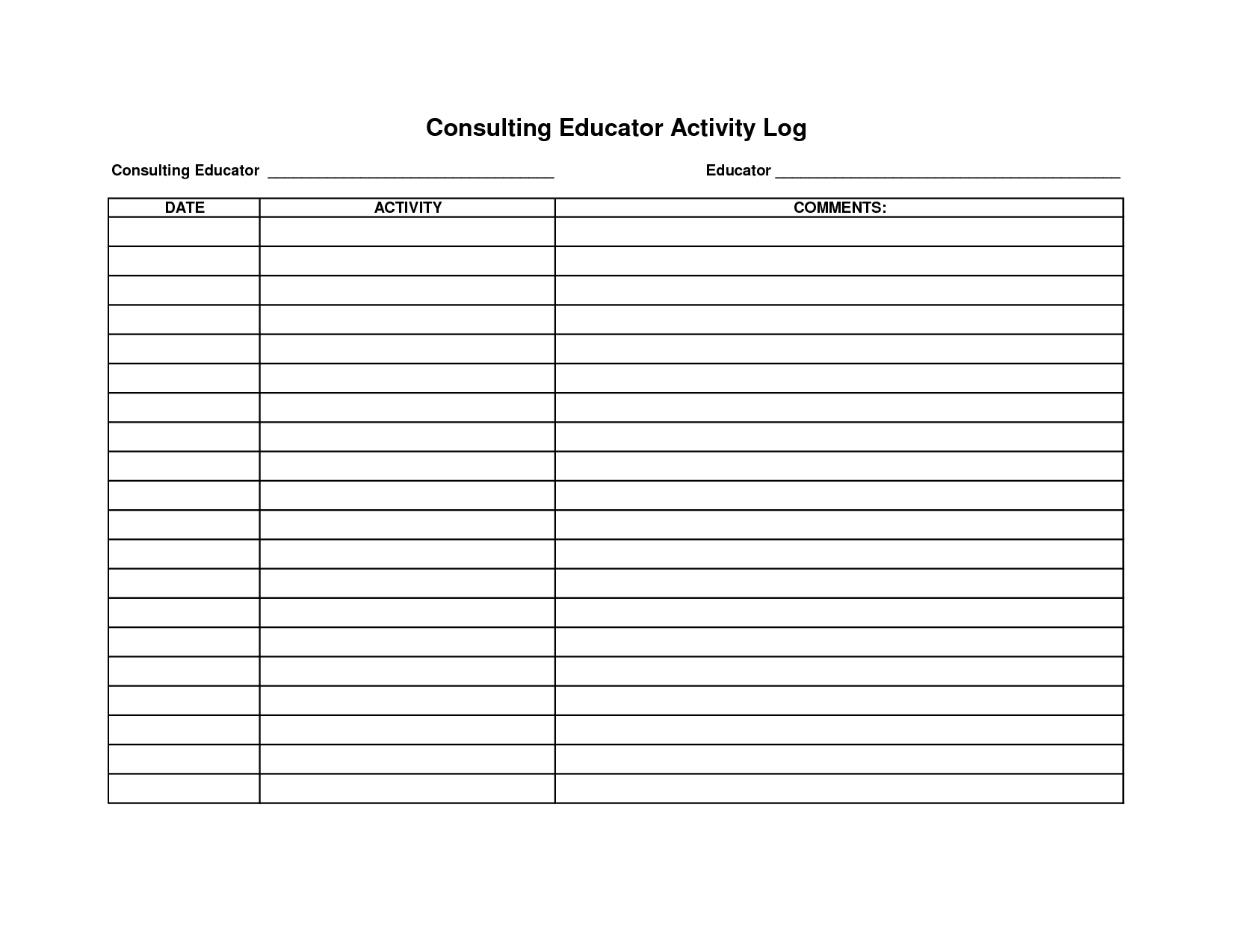 Log Templates  Activity Log Template Excel  Places To Visit