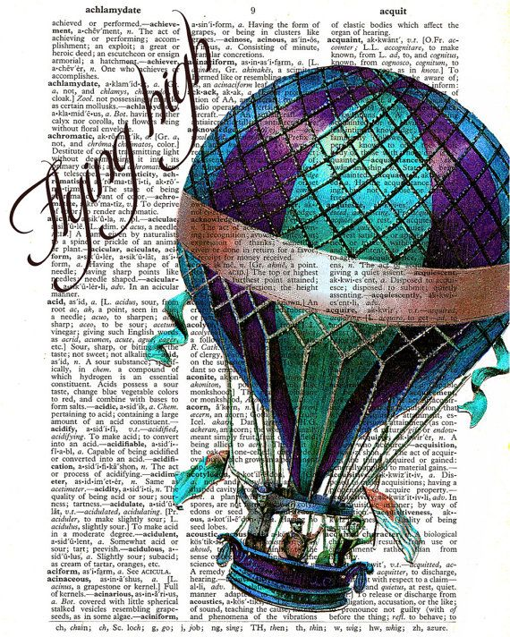 Flying High Vintage Hot Air Balloons Dictionary Print
