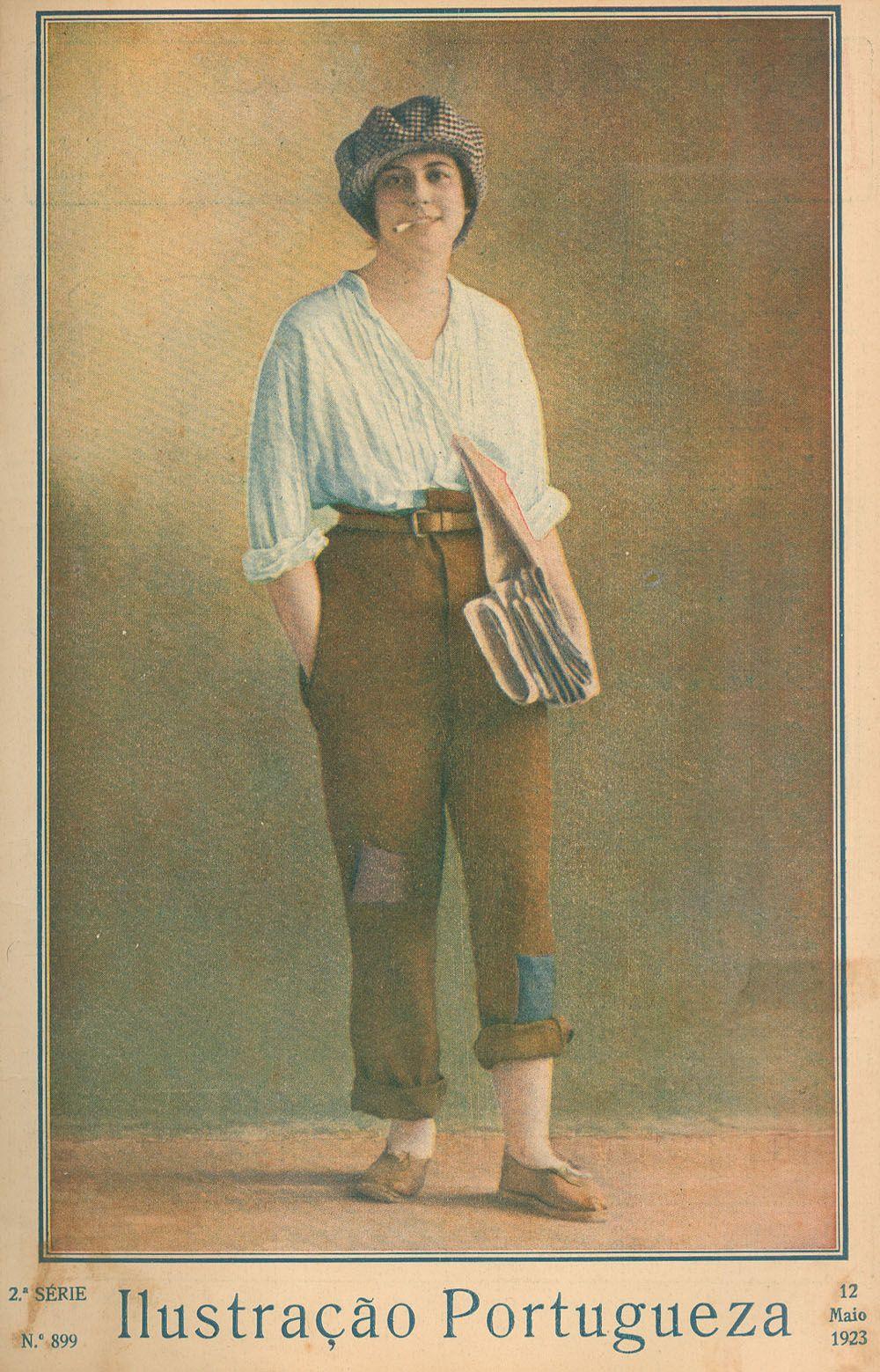 1923 - Ilustração Portuguesa  Cross dressing as a newspaper seller