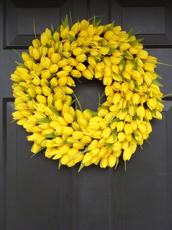 Yellow Spring Wreath, Spring Decor, Mother\'s Day Wreath, Wall ...