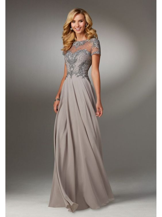 c8f073760446 A-Line Illusion Neckline Beaded Embroidered Mother of The Bride Dresses  5603079