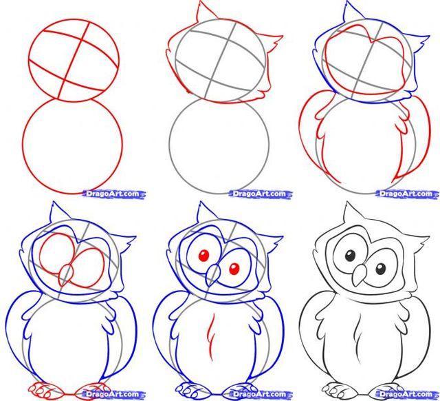 how to draw an owl biscuit pinterest dessiner un hibou alphab tisation et outils. Black Bedroom Furniture Sets. Home Design Ideas