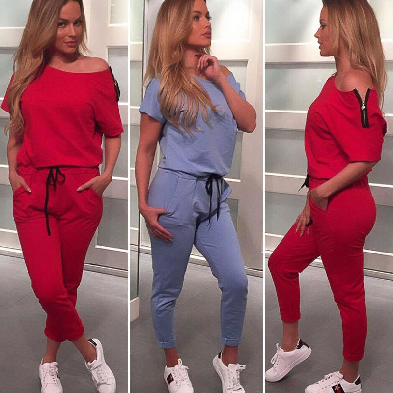 8cd7a1227dd ... Aliexpress Best Seller h by aliexpressbestseller. Jumpsuits Rompers  Women American Favourite Blue Wine 2018 Autumn Zipper off-the-shoulder  leisure