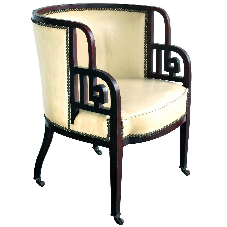 Rare Austrian Early Art Deco Mahogany Barrel Back Chair Josef