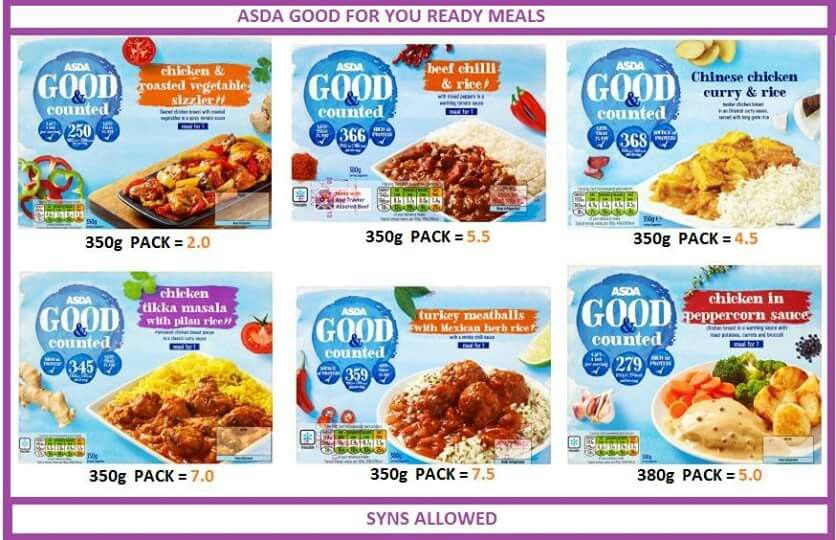 asda good for you ready meals slimming world syns list