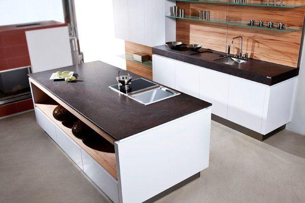 Wunderschöne kontraste küchenarbeitsplatte coffee brown aus naturstein mit leather look oberfläche von strasser steine