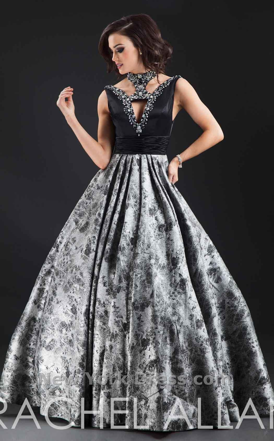 RA 8087 Cut-Out Detailed Crystal Embellished Bodice Black Print Ball Gown