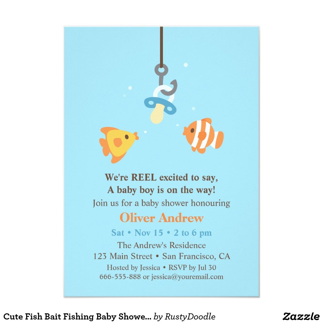 Cute Fish Bait Fishing Baby Shower Invitations Baby Shower