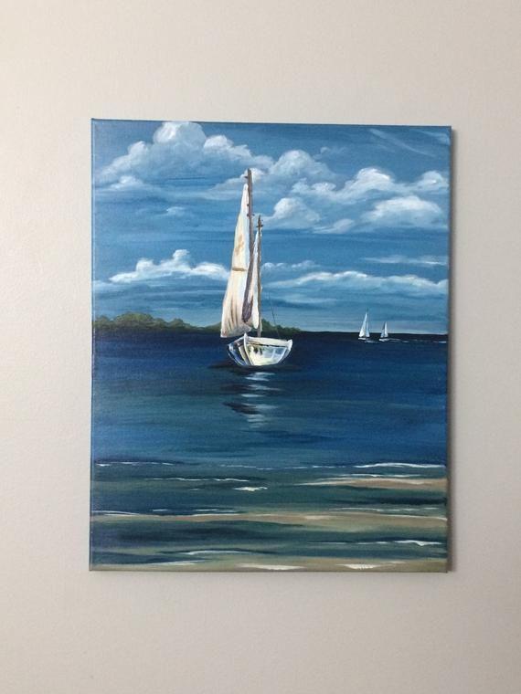 Sailboat Painting, original acrylic water, ocean, scenery, blue sky, clouds, boat, sailboat, coastal art, ocean painting, modern farmhouse