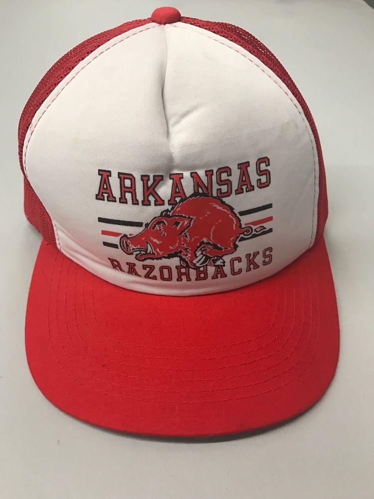 5a4a445b9e42c Vintage Arkansas Razorbacks Trucker Mesh SnapBack Hat Korea Hog  Cap  Casual