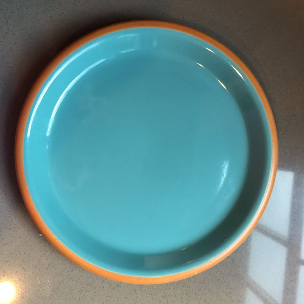 Crown Corning Japan salad plate turquoise w/ brown terracotta trim. & Crown Corning Japan salad plate turquoise w/ brown terracotta trim ...