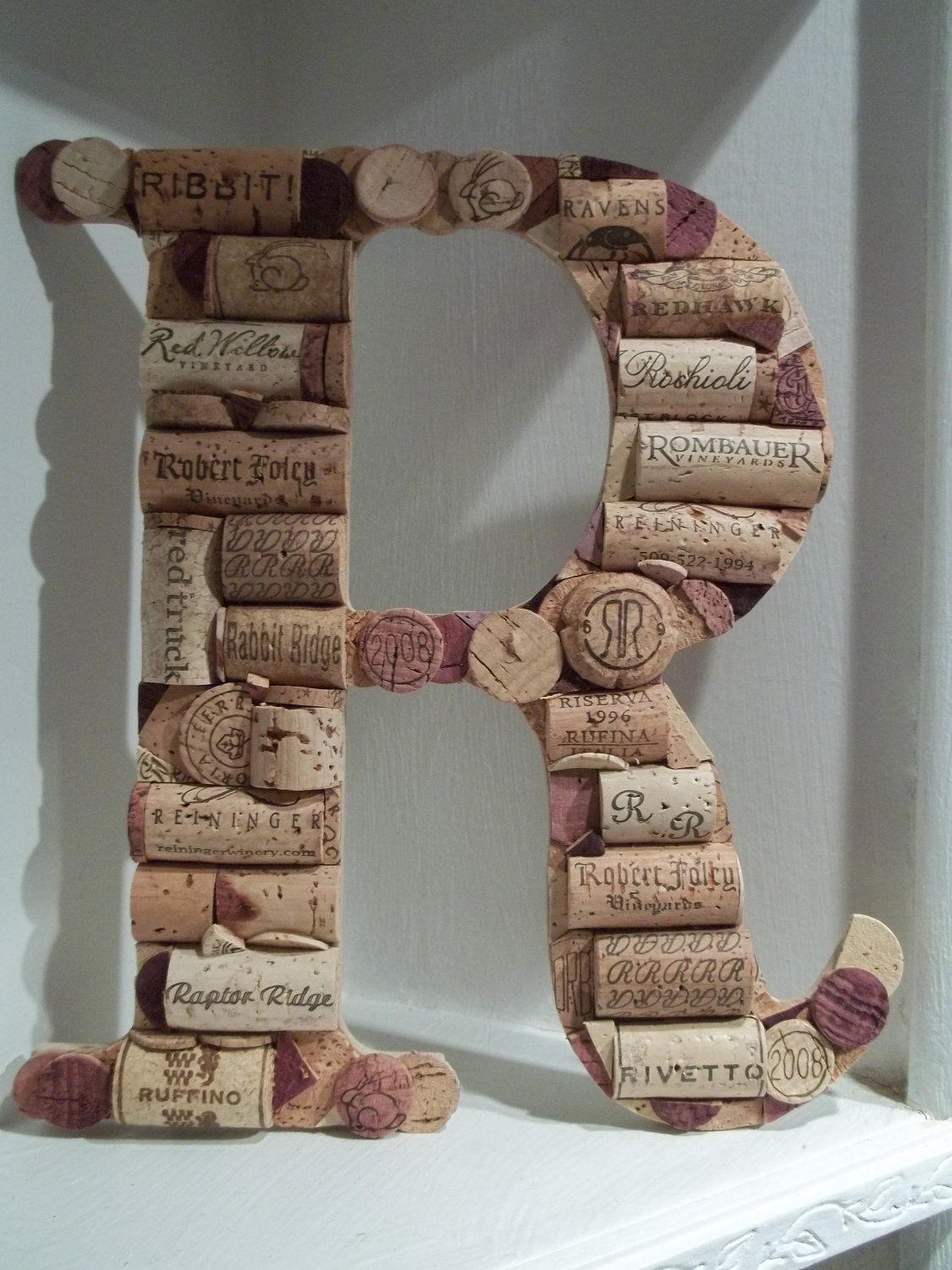 Cork letters - notice the corks have the letter R on them.
