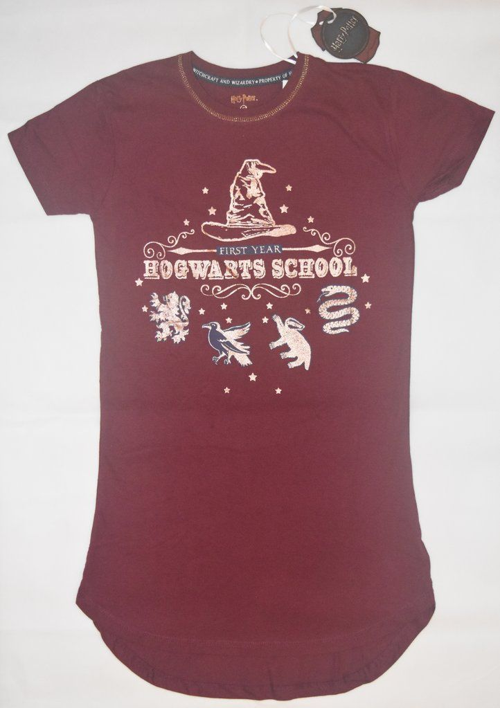 f02ddfaa PRIMARK HOGWARTS 1st YEAR PJ NIGHTIE HARRY POTTER Burgundy UK Sizes 4 - 20  NEW