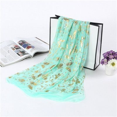 Cashmere Chiffon Scarf with Gold Butterfly Print - 11 colors