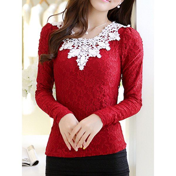 Fashionable Scoop Neck Flocking Long Sleeve Lace T-Shirt For Women