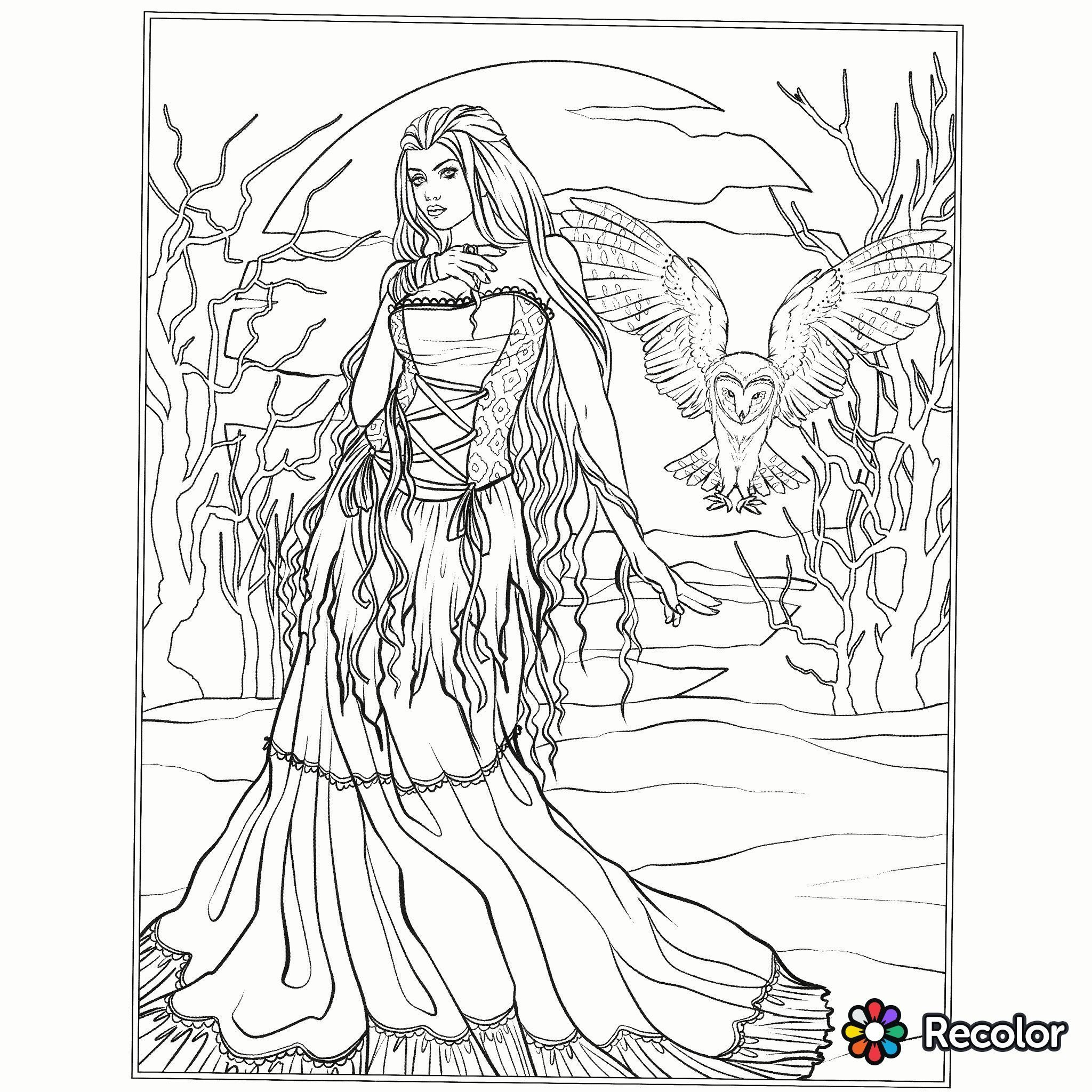 Coloring Pages For Adults Halloween Gothic Coloring Page Fantasy Coloring Pages Coloringpages Colo Fairy Coloring Pages Witch Coloring Pages Fairy Coloring