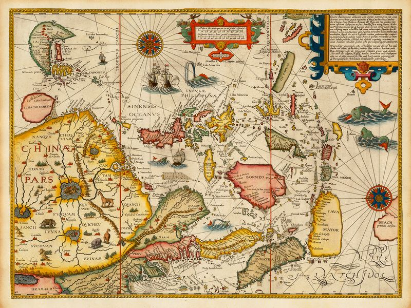 A map of Southeast Asia from 1506 by Jan Huyghen van