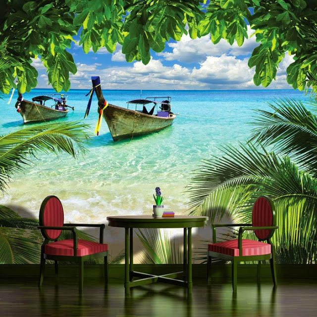 Schlafzimmer tapete strand motiv wall art home for Beach scene mural wallpaper