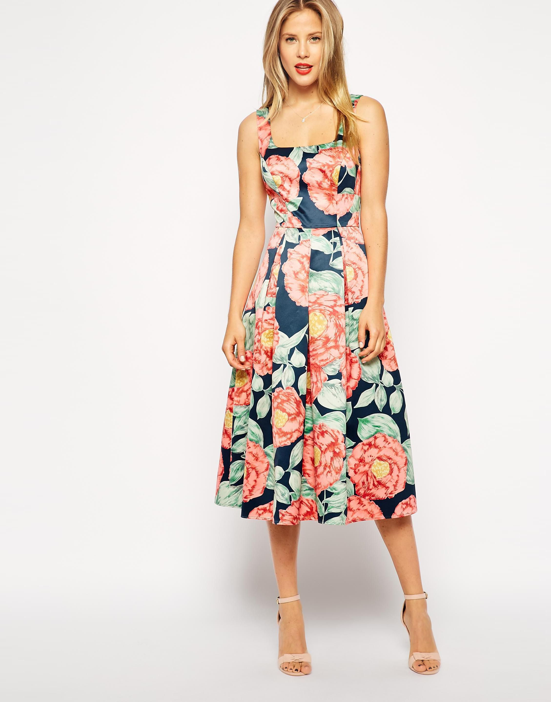 Asos Asos Structured Midi Dress In Vintage Floral 4319586 Tasha Franken Dresses Free People Maxi Dress Midi Dress [ 2880 x 2258 Pixel ]