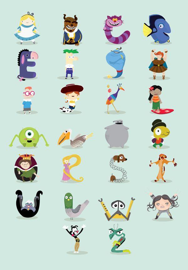 Abecedario De Personajes Animados By Mj Da Luz Via Behance Www Society6 Com Mariajosedaluz Disney Alphabet Alphabet Illustration Abc Art