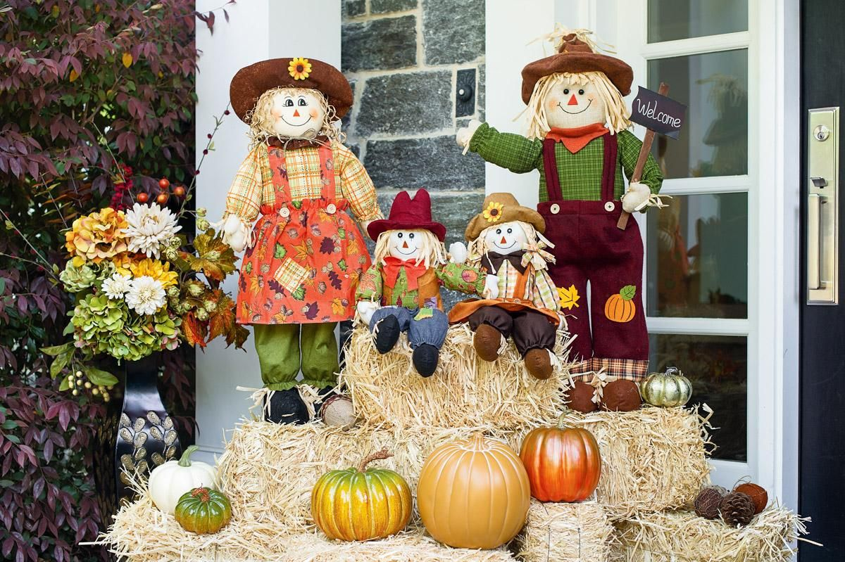 Fall Entry Scarecrow Decorations Fall Outdoor Decor Fall