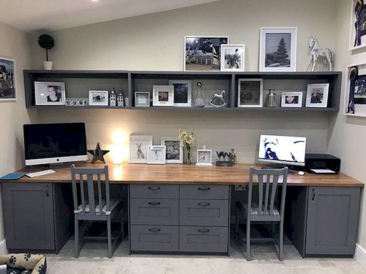 The Best Farmhouse For Home Office 30 Basement Home Office Home Office Layouts Office Cabinet Design