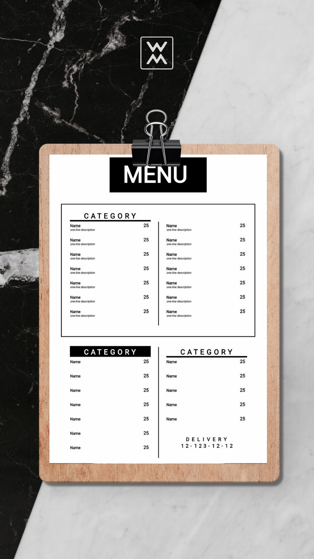 шаблон меню ресторана word