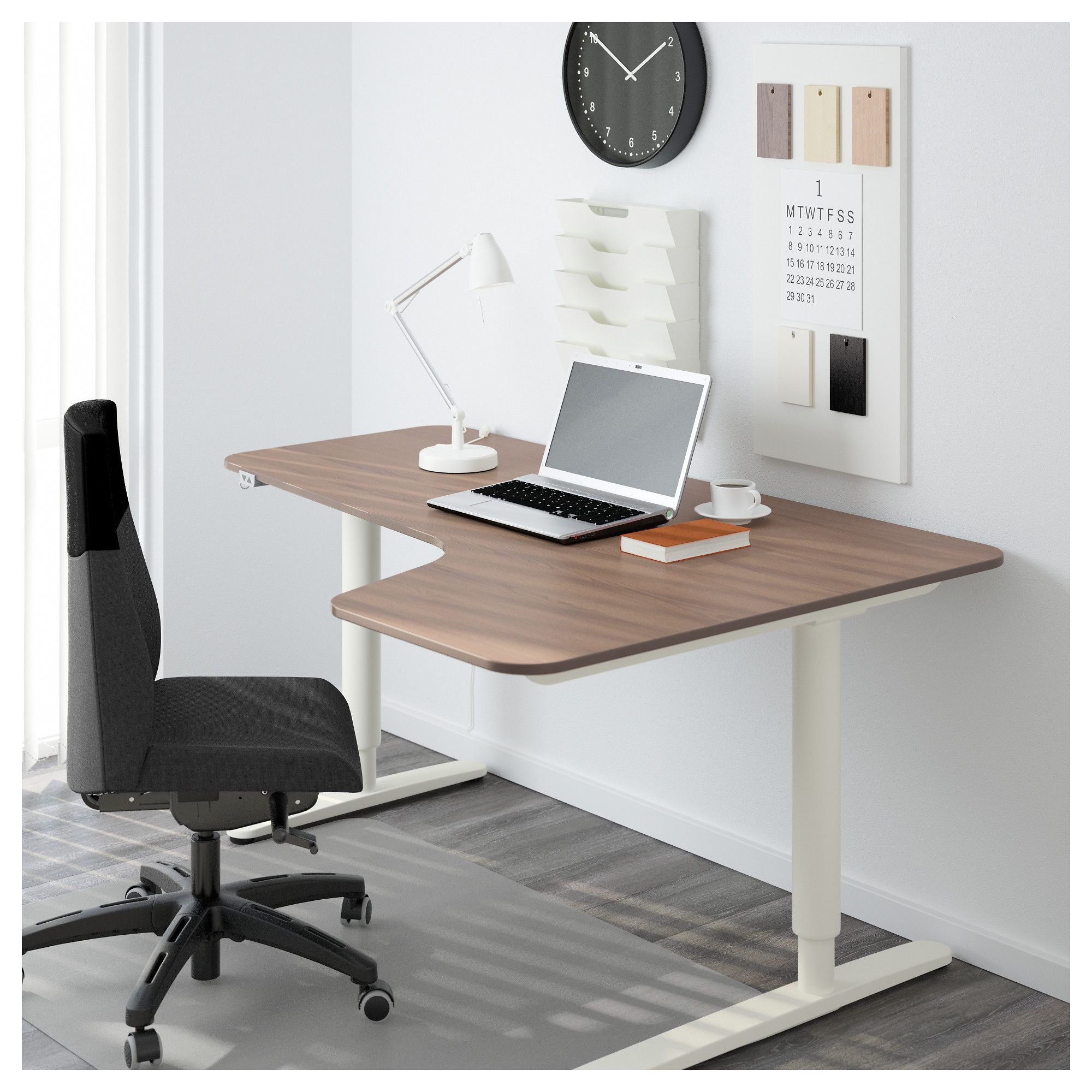 IKEA - BEKANT Corner desk right sit/stand gray, white | pro lady ...