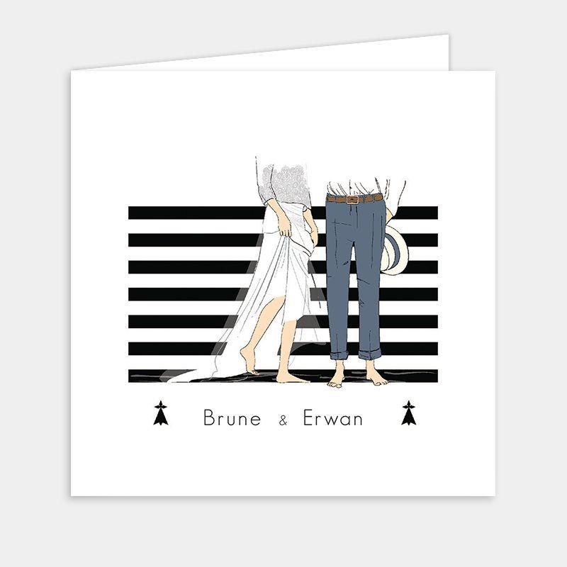 Audacieuse Faire-part de mariage Bretagne rayures - Faire-part Élégant FS-06