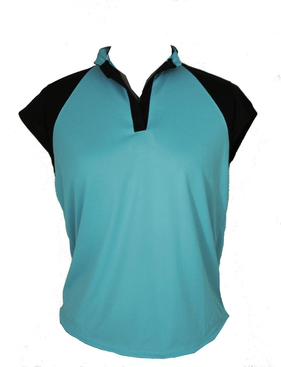 Lady Golfwear - Pastels with Black  Raglan Golf Shirt, $38.00, pictured here in aqua (http://www.ladygolfwear.com.au/pastels-with-black-raglan-golf-shirt/)