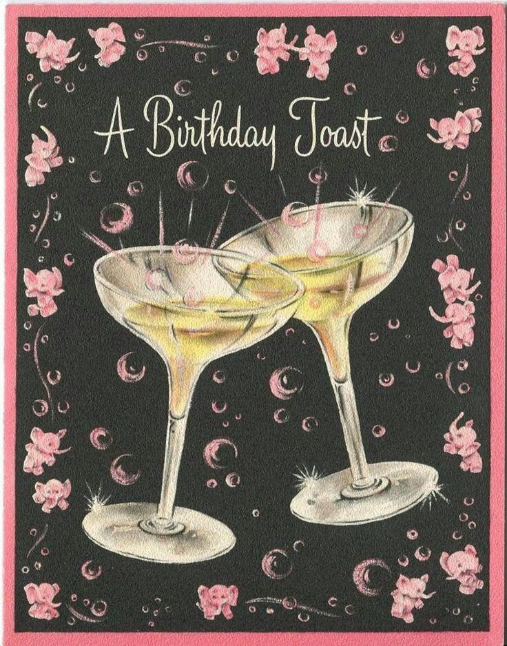 happy birthday toast A Birthday Toast   illustrated card with champagne coupes & pink  happy birthday toast