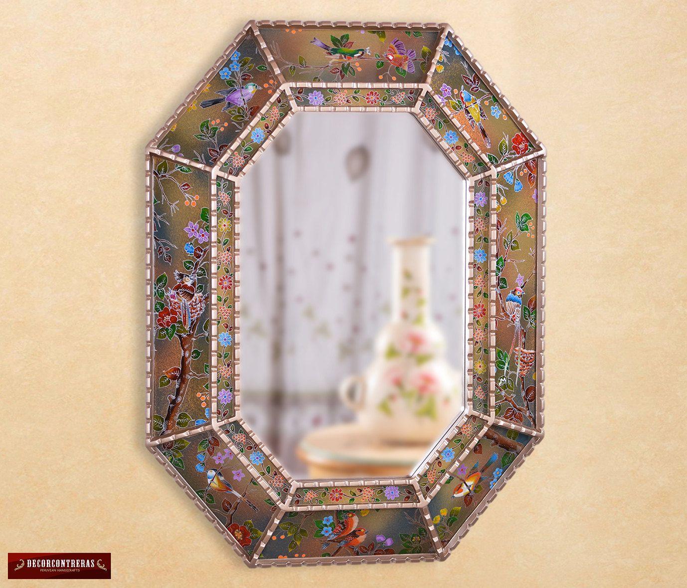 Espejo decorativo borde plata hecho a mano aves alegres - Cristal de espejo ...