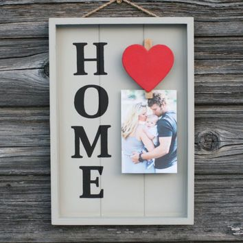 Wooden Home Signs Decor Amusing Wooden Home Sign Photo Clip Frame Wooden Sign With Hearthand Inspiration