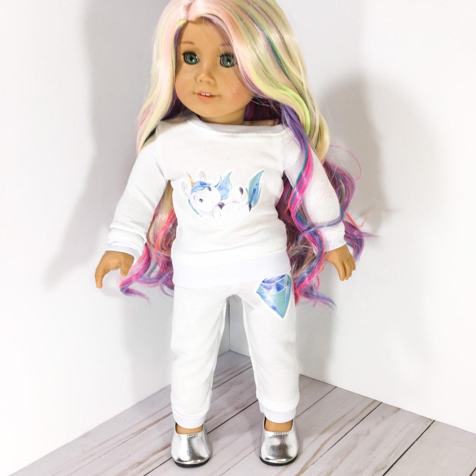 18 inch doll Clothes - unicorn diamond graphic Doll jogger pants